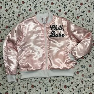 Pink Puffy Bomber Jacket - L
